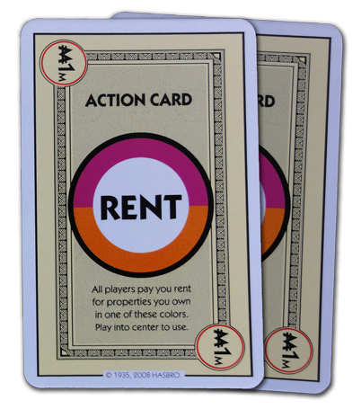 Monopoly Deal Orange And Pink Rent Card