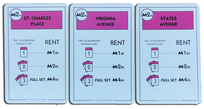 Monopoly Deal Pink Property Card