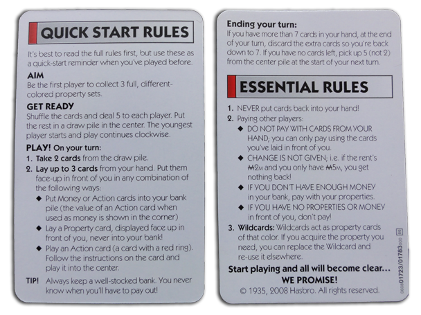 Monopoly Deal Cards Rules and FAQ
