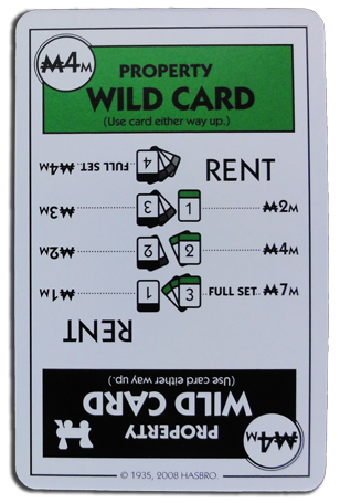 Monopoly Deal Railraod And Green Wildcard Card