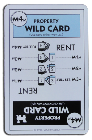 Monopoly Deal Railraod And Light Blue Wildcard Card