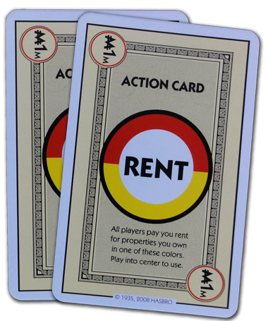 Monopoly Deal Red And Yellow Rent Card