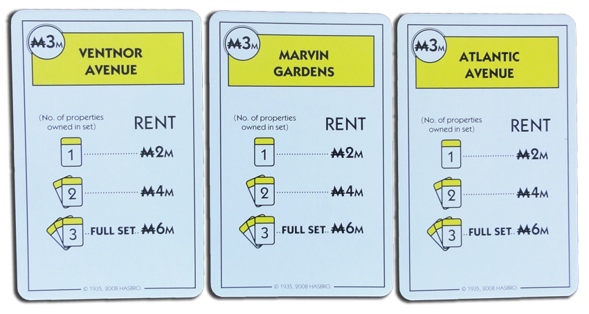 Monopoly Deal Yellow Property Card